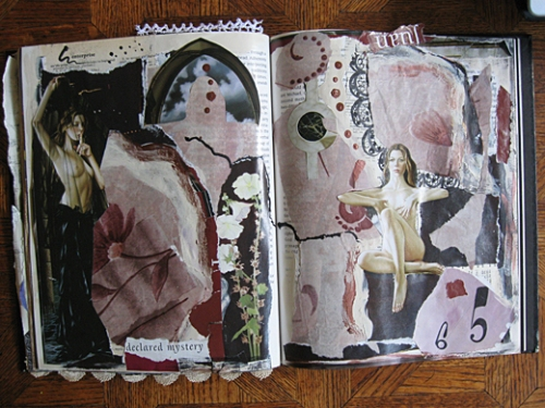 Altered book pages done in collage and mixed media