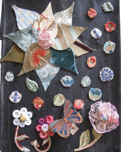 Phoebe's Garden - art journal page, fabric on gesso
