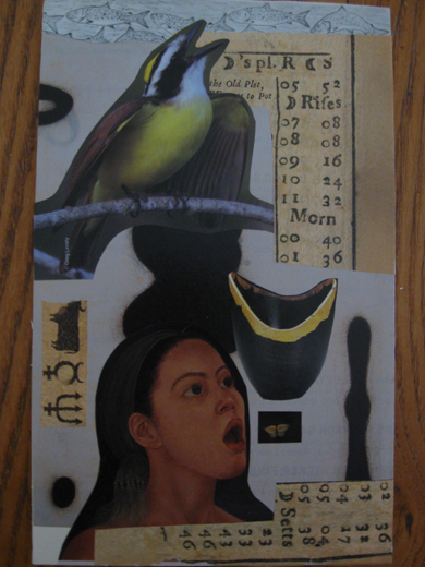 "Soul Divination Card, ""My Voice"", collage on 5"" x 7"" om card stock"